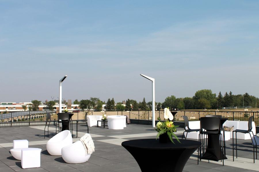 The Goodmen Roofing Outdoor Patio set up for an event